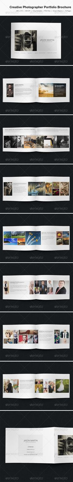 Creative Photographer Portfolio Brochure   #GraphicRiver        Creative Photographer Portfolio Brochure Features.   297mm x 210mm (3 mm with bleed)  300 DPI CMYK Print Ready!  Full Editable, Layered  Smart Objects (Drag n drop your images)   you can find fonts here   Open Sans  Please note that Images are not included in the item. 	 please dont forget to rate it.     Created: 11July13 GraphicsFilesIncluded: