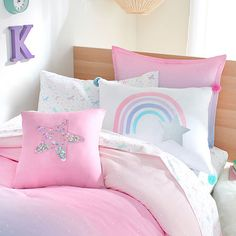 Frank And Lulu Confetti Star Square Throw Pillow, Color: Confetti Star - JCPenney Bed For Girls Room, Teen Girl Bedrooms, Little Girl Rooms, 6 Year Old Girl Bedroom, Tween Girls Bedroom Ideas, Pastel Girls Room, Unicorn Bedroom Decor, Unicorn Rooms, Unicorn Bed Set