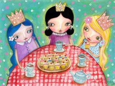 Tea Party with Cupcakes  Print by willowing on Etsy, £12.00