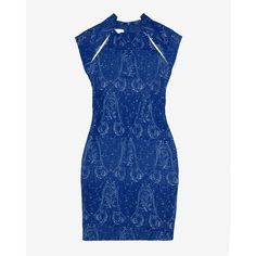 Yigal Azrouel Stretch Paisley Jacquard Leather Detail Dress ($1,150) ❤ liked on Polyvore