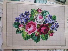 4 Antique Hand Painted Berlin Woolwork Embroidery Charts- Heinrich Kuehn- Roses | eBay