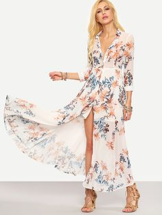 Flower+Print+Chiffon+Long+Shirt+Dress+-+White+35.99