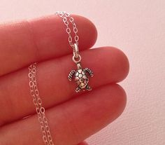 Tiny Sea Turtle Necklace in Sterling Silver by TangerineCrimeScene, $28.00