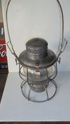 "Southern Railway Vintage Railroad Lantern Bold Marked Globe & Canopy  ""Wife has one and I have a small collection of kero and battery lamps."""