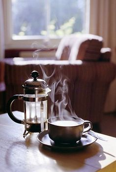 French press and a steamy cup of coffee.