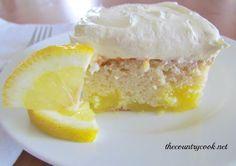 Lemon Dream Cake--French Vanilla Cake mix, lemon pie filling, Cool Whip, lemon frosting. D-I-V-I-N-E.