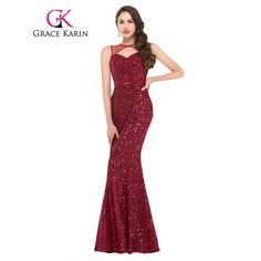 2b60b73e1b61 Click to Buy    Grace Karin Hollowed Out Front Red Sequined Mermaid Evening