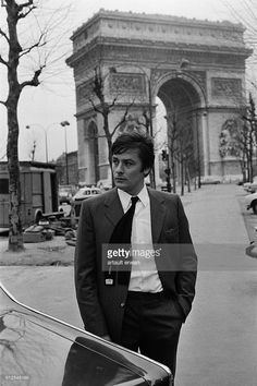French actor Alain Delon on the set of Un Flic (Dirty Money), written and directed by Jean-Pierre Melville.