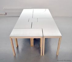 7wonders modular table by Swedish designer Amanda Karsberg - seven smaller tables join to form your dining table.