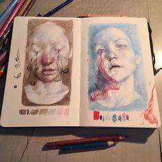 A Level Art portraiture development inspired by Annemarie Busschers - Emily Fielding, Kennet School Art Sketches, Art Drawings, Watercolour Drawings, Watercolor Sketch, Pencil Drawings, Grafik Art, Art Et Design, Arte Sketchbook, A Level Art Sketchbook