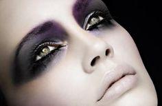 Dark, smokey eyes extending over brow line balanced with nude lips.   #beauty…