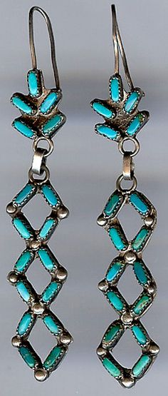 EARLY ZUNI INDIAN STERLING SILVER & TURQUOISE DANGLE EARRINGS