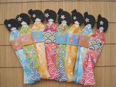 I made some Japanese paper dolls like this probably 20 years ago; and turned them into a papercrafted wall art.