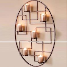Metal Wall Art Wall Decor,Oval Simple Lines Candlestick Wall Decor - USD $ 99.99