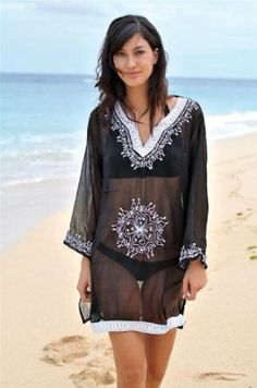 Copacabana Long Sleeve Embroidered Beach Tunic/Cover Up, XL, Black