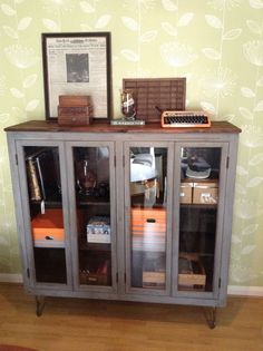 Modern Rustic glass fronted cabinet/bookcase painted Annie Sloan dark grey
