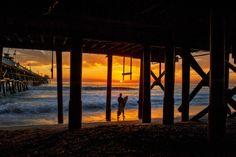Surfer at Sunset at San Clemente Pier - February 2014 by Rich Cruse on San Clemente Pier, Island Tour, Most Beautiful Beaches, Ocean Beach, Ocean Waves, Beach Trip, Beach Travel, Summer Nights, Summer Time
