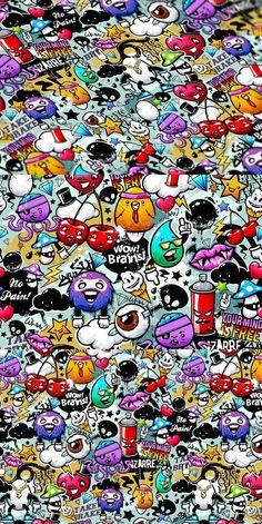 Graffiti seamless texture with bizarre elements and characters. Sticker Bomb Wallpaper, Graffiti Wallpaper Iphone, Crazy Wallpaper, Pop Art Wallpaper, Funny Phone Wallpaper, Trippy Wallpaper, Screen Wallpaper, Dope Wallpapers, Stunning Wallpapers