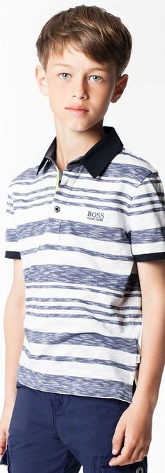 b8e68a246 BOSS Boys Blue Striped Polo Shirt for Spring Summer 2018l. for Spring  Summer 2018.