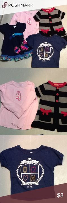 Girls 4 top bundle Navy blue butterfly dress with a tie string in the back, navy blue old navy shirt, pink long sleeve ballet Gymboree top, black and gray sweater top. All size 2 and gently used but great condition!! Shirts & Tops