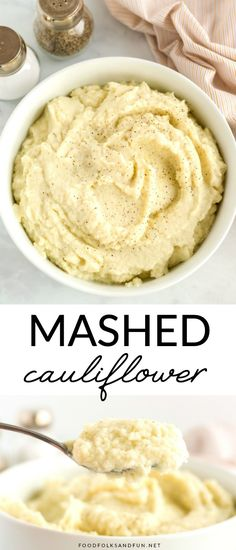 This Healthy Mashed Cauliflower recipe is delicious flavorful and low-carb! You can get this mashed cauliflower on the table in 20 minutes or less! Plus theyre less than 100 calories per serving! Pureed Food Recipes, Top Recipes, Side Dish Recipes, Snack Recipes, Cooking Recipes, Healthy Recipes, Side Dishes, Dinner Recipes, Skinny Recipes