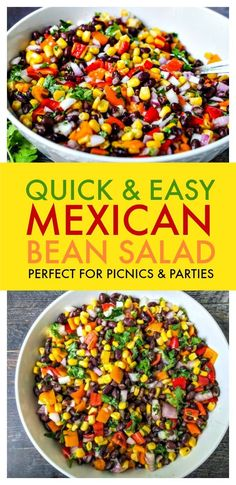 Quick & Easy Mexican Bean Salad – perfect side dish for picnics and parties! Mexican Bean Salad is perfect for summer picnics and parties that you can make the night before. The festive colors & delicious taste are sure to be a hit. Mexican Side Dishes, Mexican Salads, Mexican Food Recipes, Healthy Recipes, Cooking Recipes, Mexican Picnic, Mexican Food For Party, Mexican Food Buffet, Healthy Mexican Sides