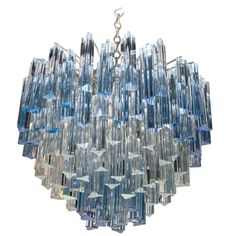 Rare Murano Chandelier with Clear and Gradient Blue Crystal Prisms by Venini for Camer | From a unique collection of antique and modern chandeliers and pendants at https://www.1stdibs.com/furniture/lighting/chandeliers-pendant-lights/