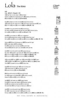 Ukulele chords - Lola by Ray Davies / The Kinks Guitar Chords And Lyrics, Cool Ukulele, Easy Guitar Songs, Guitar Chords For Songs, Uke Songs, Guitar Sheet Music, Ukulele Tabs, Guitar Lessons, Ukulele Songs Popular