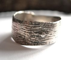 woodgrain silver ring