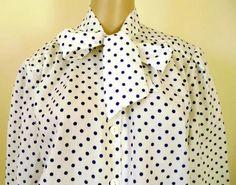 Vintage White Silk pussy bow blouse polka dot 14, €15,00