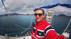 Sailing in Italy in a cool red jacket.  Love the classic marine stripe!  Photo from @ szilagyilacee Instagram