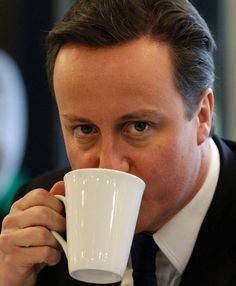 David Cameron, the Conservative Party leader having his tea