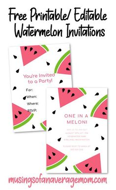 Free Printable or Editable Watermelon Invitations - 4 different versions you can edit online or print out and write in your details. Watermelon Birthday Parties, Luau Party, Birthday Party Invitations Free, Free Birthday, Party Printables, Free Printables, Cute Watermelon, Edit Online, Diy Party Decorations