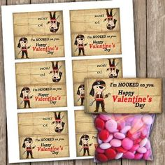 Valentines Pirate Small Treat Bag Toppers School by Valentine Treats, Valentines Day Party, Valentine Day Crafts, Valentinstag Party, School Treats, Bag Toppers, Candy Bar Wrappers, Treat Bags, Pirates