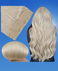 Fshine Invisible Halo Crown Hair Extensions 12 Inch Color 60 Light Blonde Remy Human Hair Invisible Fish Wire Hair #goldblondehair #hair #hairstyle Gold Blonde Hair, Platinum Blonde, Crown Hair Extensions, Human Hair Extensions, Invisible Crown, Light Blonde, Crown Hairstyles, Remy Human Hair, Hair Pieces