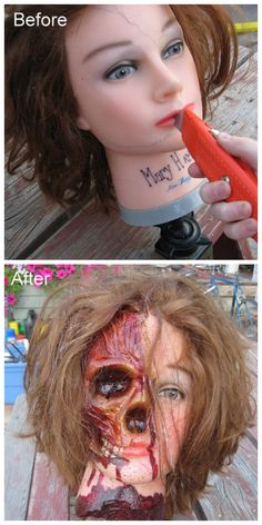 DIY Cosmetology Head Ghoulish Restyle Tutorial from Bascombe Mania. This is an extremely detailed tutorial of how to take a rubber/plastic head, insert a skull and come up with this scary creation. You could probably do this on rubber head dolls with Dollar Store smaller skulls.