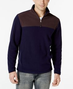 0930de3bb7f Club Room Big and Tall Quarter-Zip Fleece Pullover, Created for Macy's &  Reviews - Sweaters - Men - Macy's