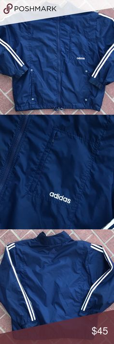 VINTAGE ADIDAS STRIPED TRACK JACKET MEN'S SIZE XL Details: Great condition! No defects. Navy jacket & white stripes. Adidas logo embroidered on left torso pocket. 2 lower pockets on front. Full zip. Adidas logo embroidered on back. Draw strings at bottom.  Measurements: Pit-to-pit: 25 inches. Sleeves: 27 inches. Back Length: 29 inches.  *Ships from US.  *Same or next day shipping.  *First-Class US shipping (delivery in 1 to 3 business days).  *First-Class International shipping (delivery in…