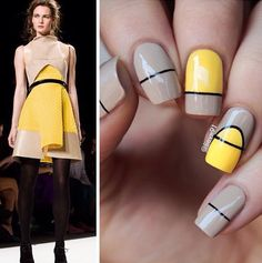 Yellow and beige spring nail art design. This wonderful color combination complements each other amazingly and adding the thin black lines only makes the design even more interesting.
