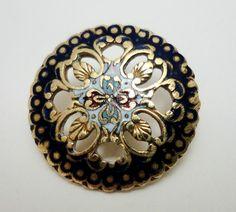 """Antique Pierced Enamel Button Cobalt Blue Border 3 4"""""""