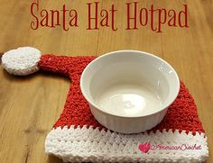 This Santa Hat Hotpad is a great way to get your Kitchen ready for the holidays. Make several and place them around the counters as decorations, or to protect your table tops from hot serving dishes as you serve your favorite dishes. This will also make a great hostess gift if you are going to visit family and friends instead of hosting the gathering.