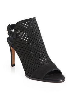 Vince - Aden Laser-Cut Peep-Toe Suede Ankle Boots - Saks.com