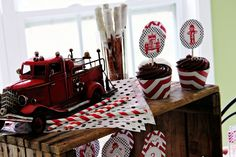 Firetruck Birthday Party - Vintage Fireman Party Ideas |