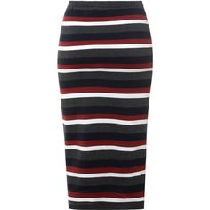 Charcoal Pencil Skirt With Multi Coloured Stripes ($26) ❤ liked on Polyvore featuring skirts, grey, gray midi skirt, grey pencil skirt, mid calf pencil skirt, bodycon pencil skirt and gray pencil skirt
