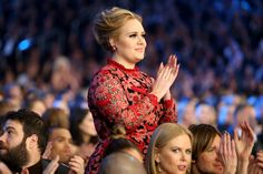When she was like the only one in the whole crowd standing.   The 21 Most Adorable Adele Moments At The Grammys