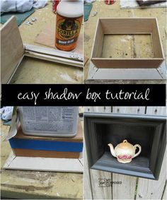 How to make a diy shadow box frame from thrift store or yard sale finds. Easy step by step tutorial to make your own shadow box.