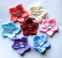 Flower Ribbon Hair Bows - Choose 2 by ColorfulClips on Etsy, $10.00