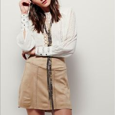 Free People Tie me Vegan mini skirt See pic 4 great soft pull on elastic unseen waist it's super soft and cute Free People Skirts Mini