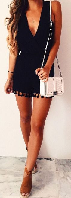 #summer #outfits / black deep v neck playsuit