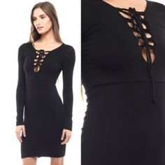 Lace Up Black Long Sleeve Dress AVAILABLE in SMALL or LARGE  •Lace Up Tie Front •Long Sleeve Midi Dress •All Black •95% Rayon 5% Spandex  Measurements (laying flat, not stretched)  This item does stretch for flexible sizing.  -Small: 28in Bust, 34in Length -Medium: 30in Bust, 35in Length -Large: 32in Bust, 36in Length  Hello! I'm Monika. I'm a Boutique Owner & an Entrepreneur Mentor. Welcome to my closet!   Let's keep in touch   Instagram: @monikarosesf YouTube: MonikaRoseSF  Snapchat…